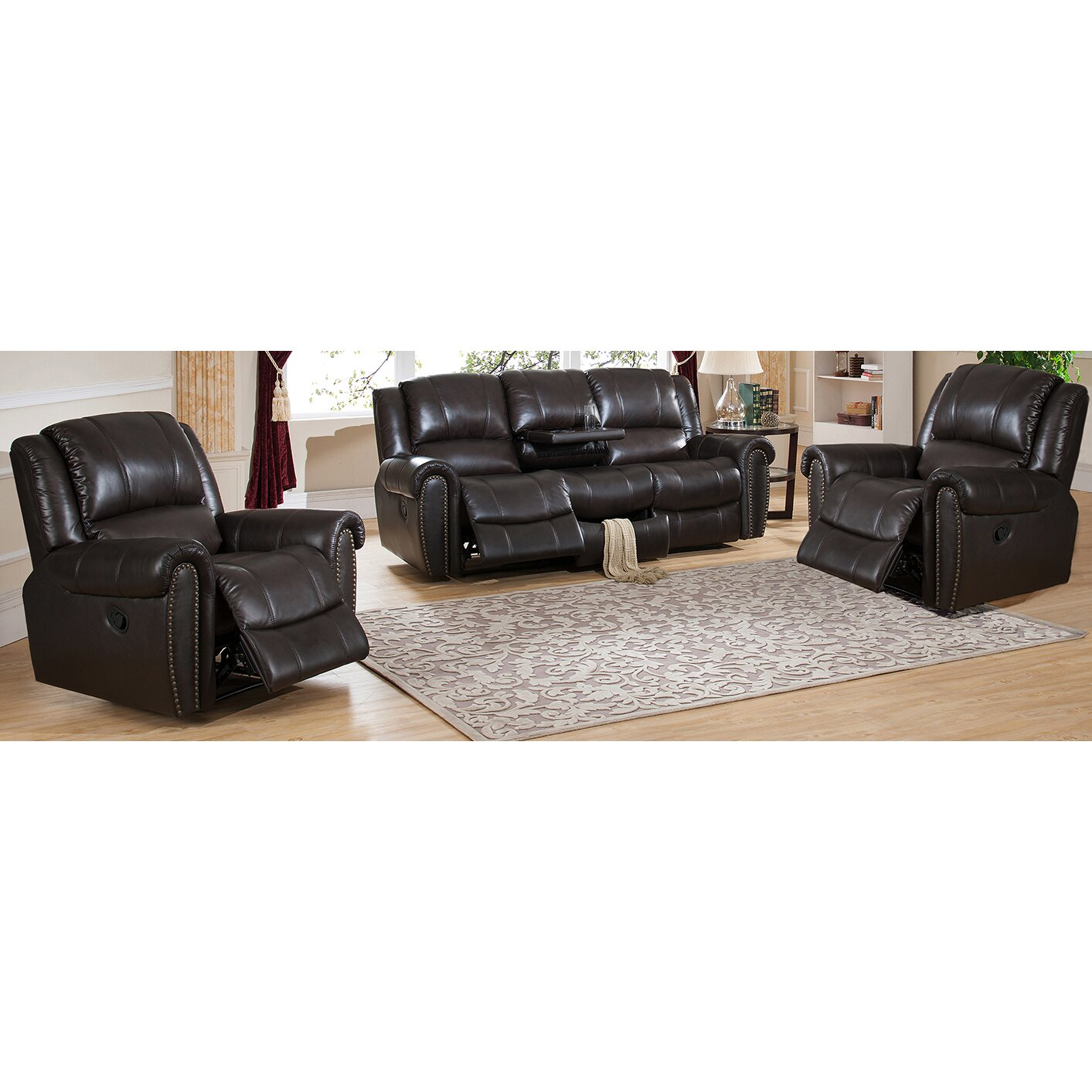 Leather Reclining Living Room Sets Amax Charlotte 3 Piece Leather Recliner Living Room Set Wayfair
