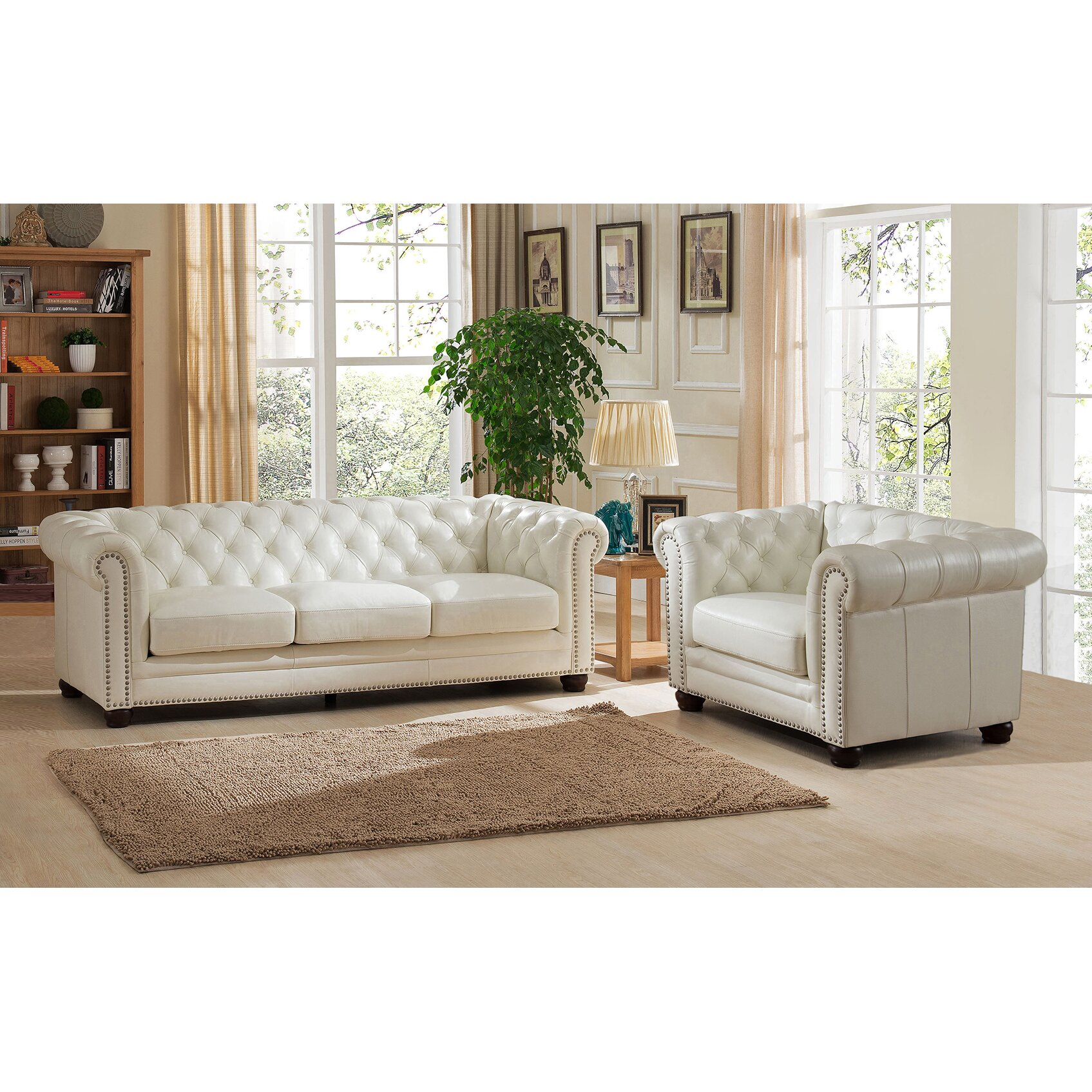 amax nashville 2 piece leather living room set