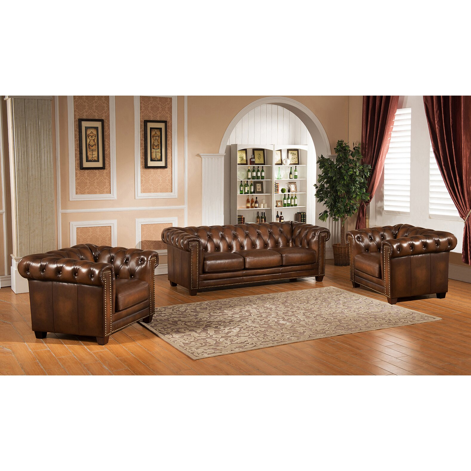 Amax hickory chesterfield genuine leather 3 piece leather living room set
