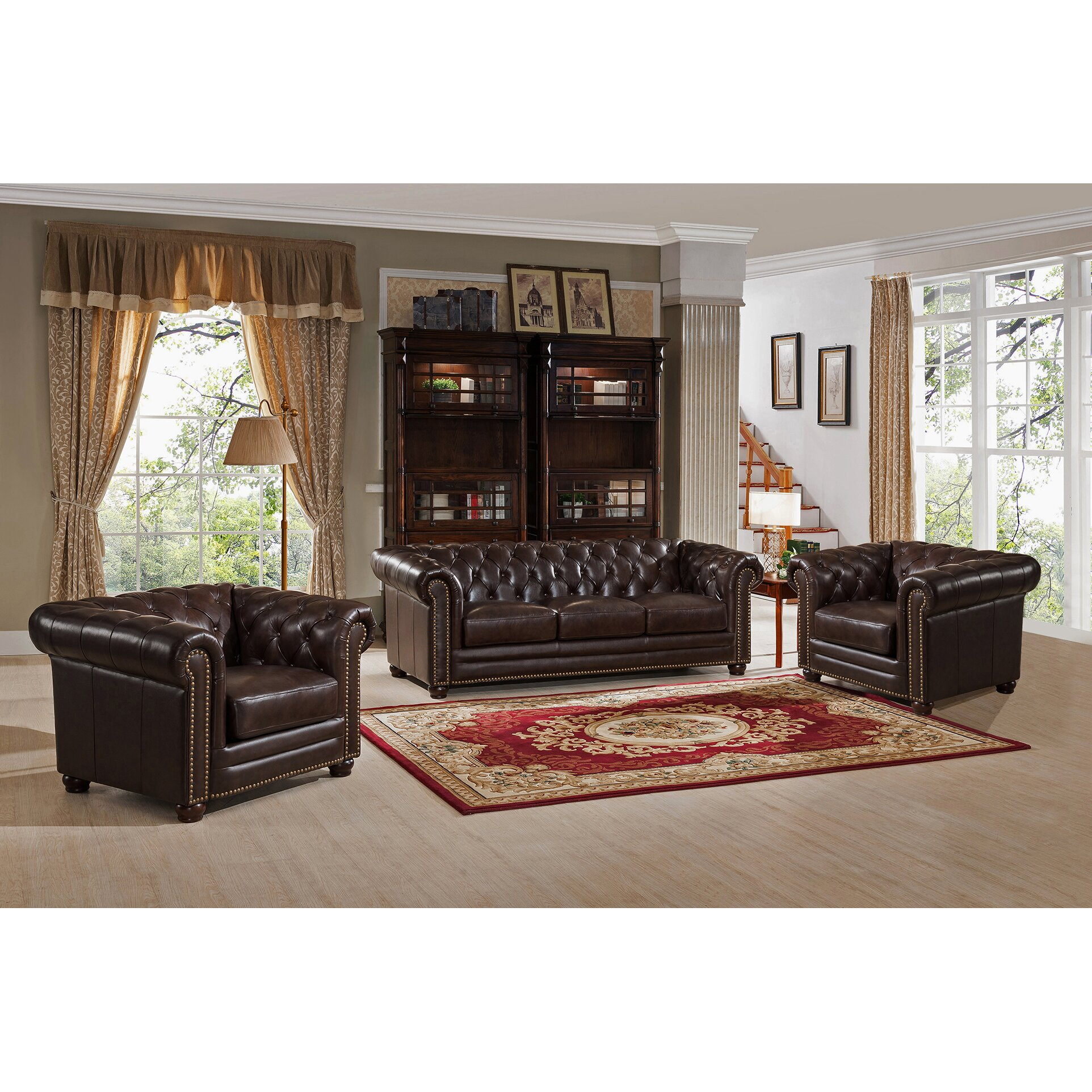 Top Grain Leather Living Room Set Amax Kensington Top Grain Leather Chesterfield Sofa And Two Chair