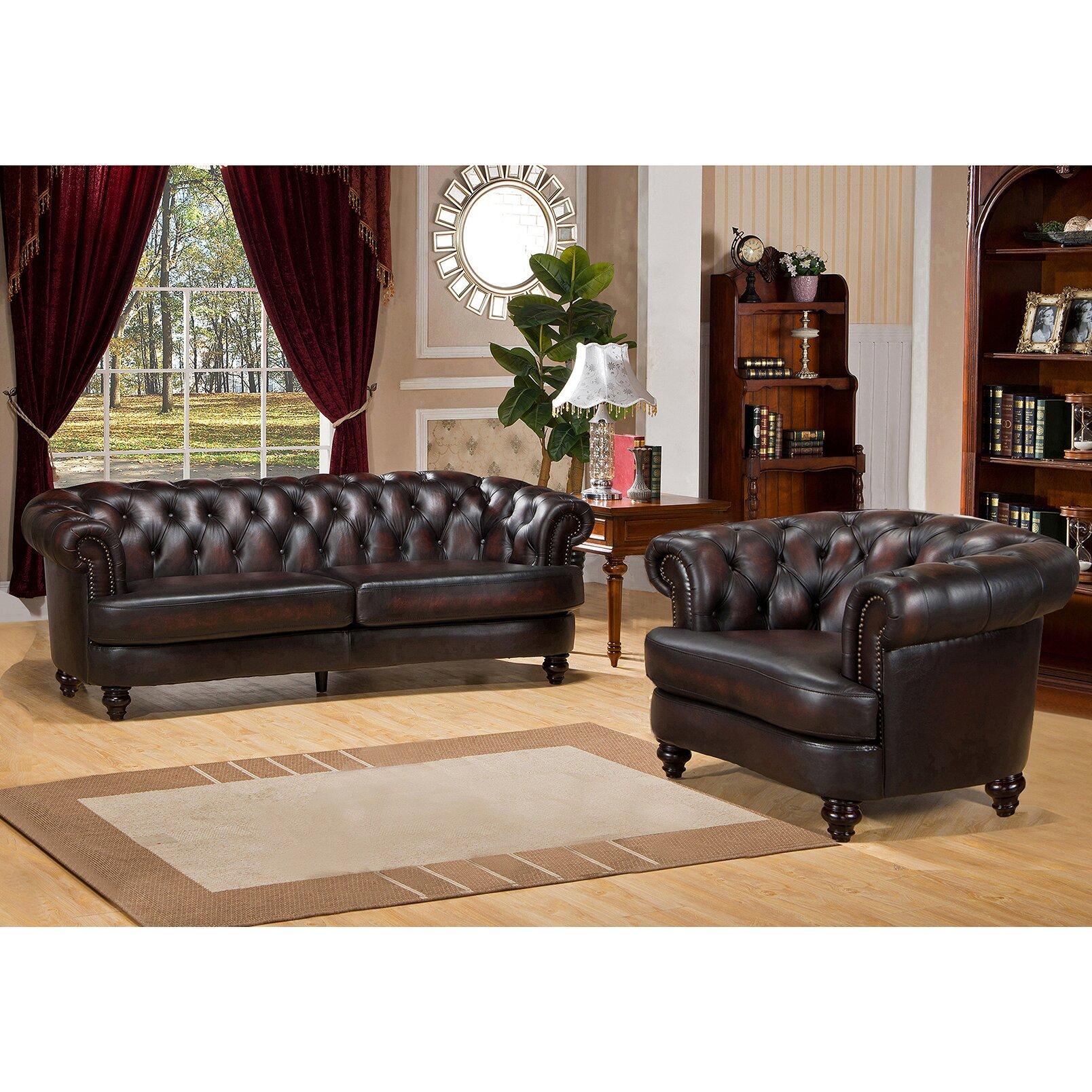 Amax roosevelt 2 piece leather living room set 2 piece leather living room set