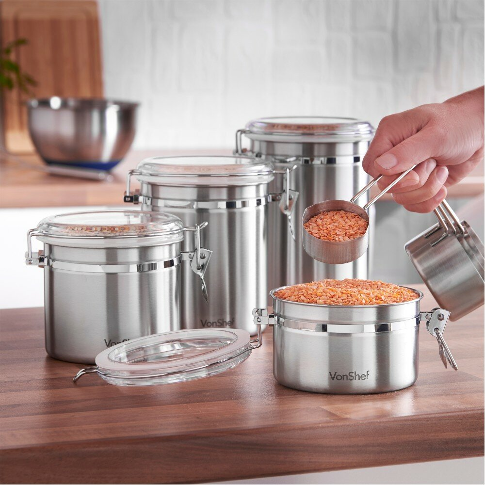VonShef Stainless Steel 4 Piece Kitchen Canister Set