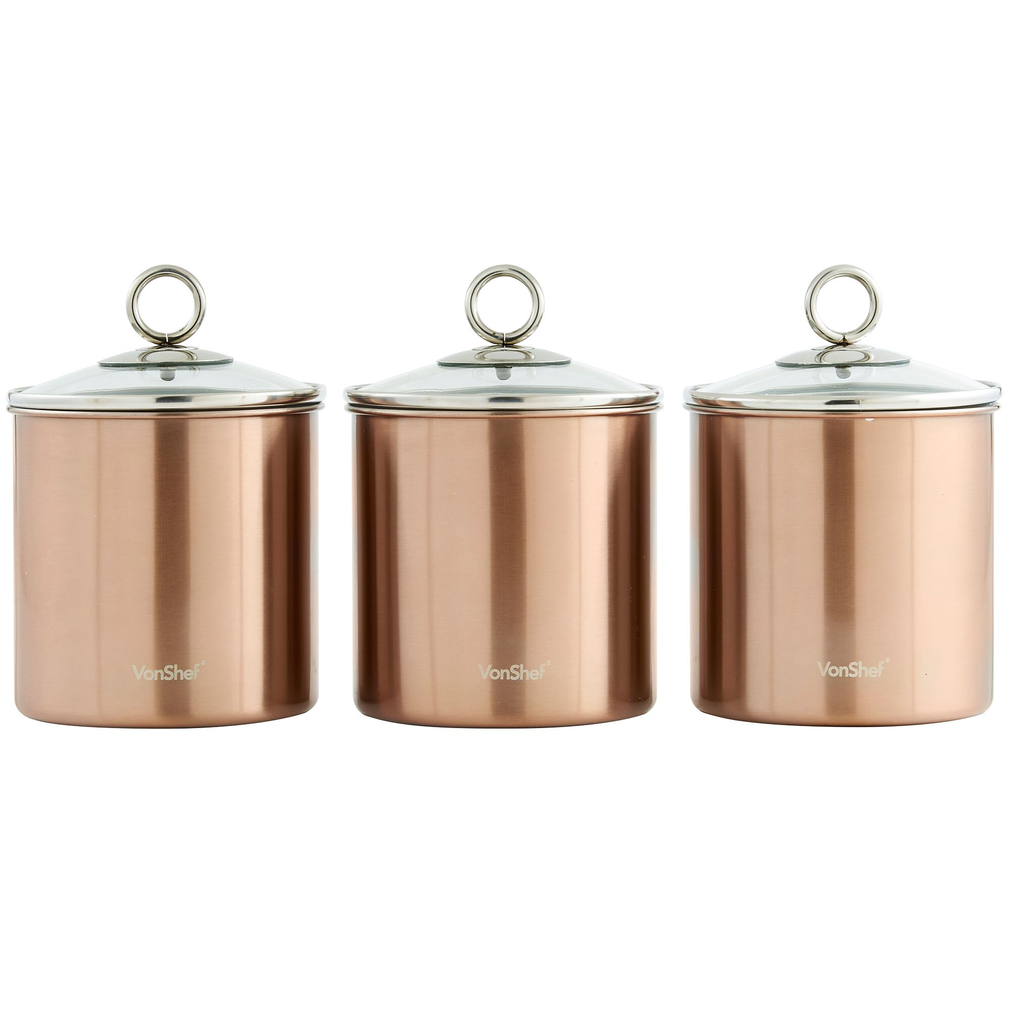 vonshef 3 piece kitchen canister set wayfair ca