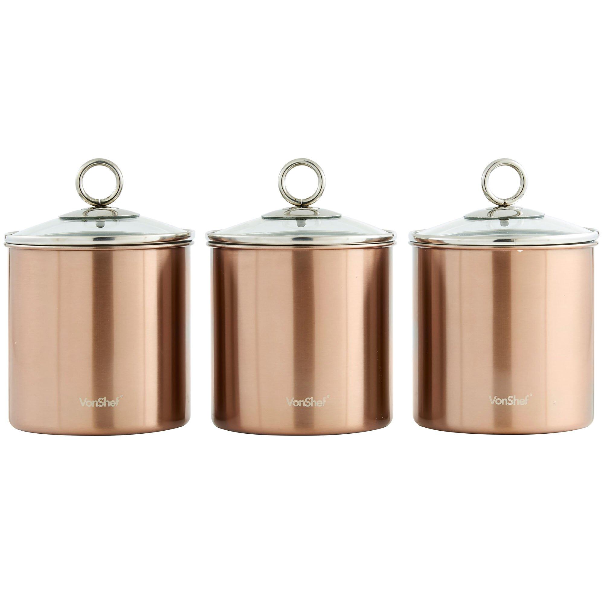 28 kitchen canister sango 4 piece avanti canister set kitchen canister vonshef 3 piece kitchen canister set wayfair ca