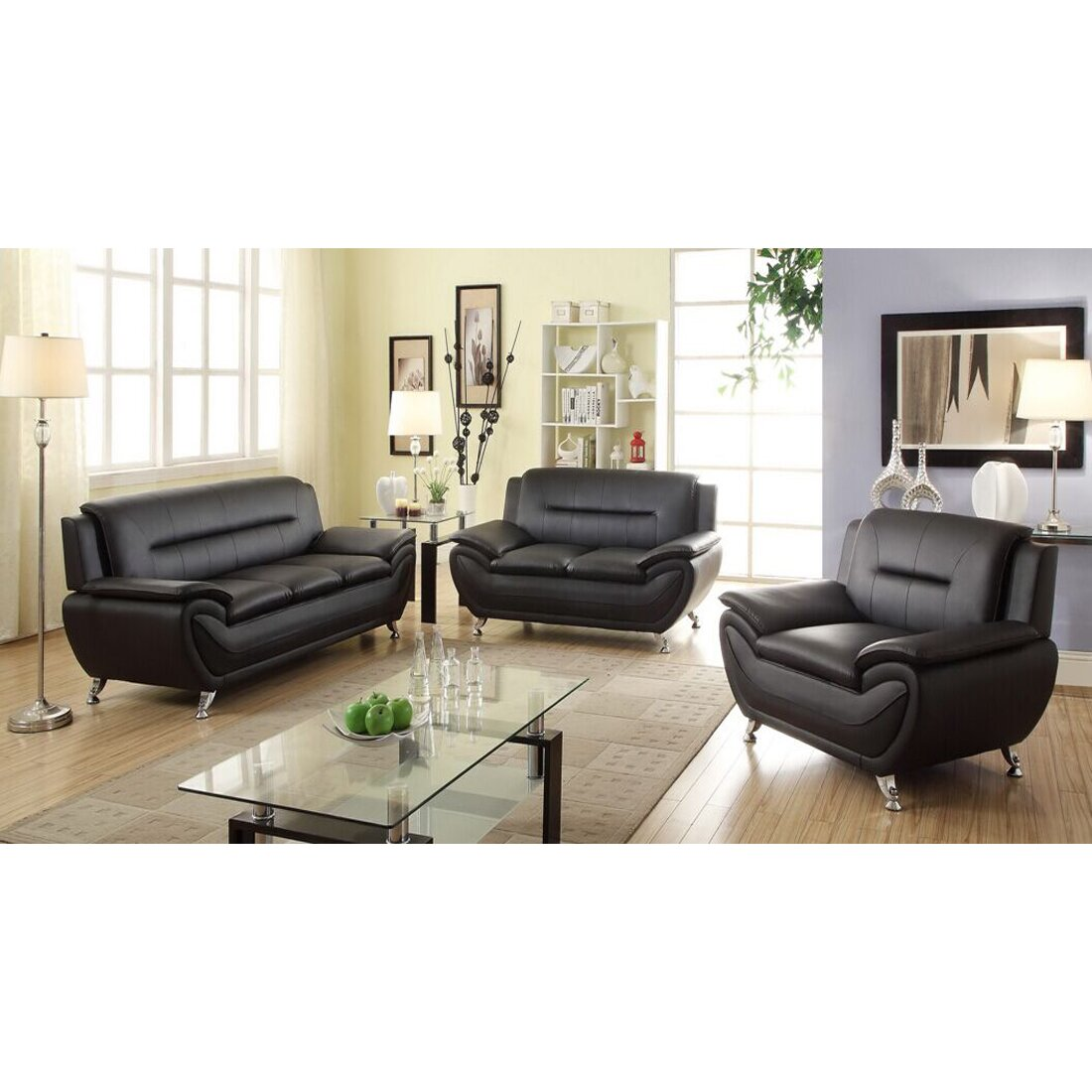 Contemporary 3 Piece Leather Living Room Set Ensign - Beautiful ...
