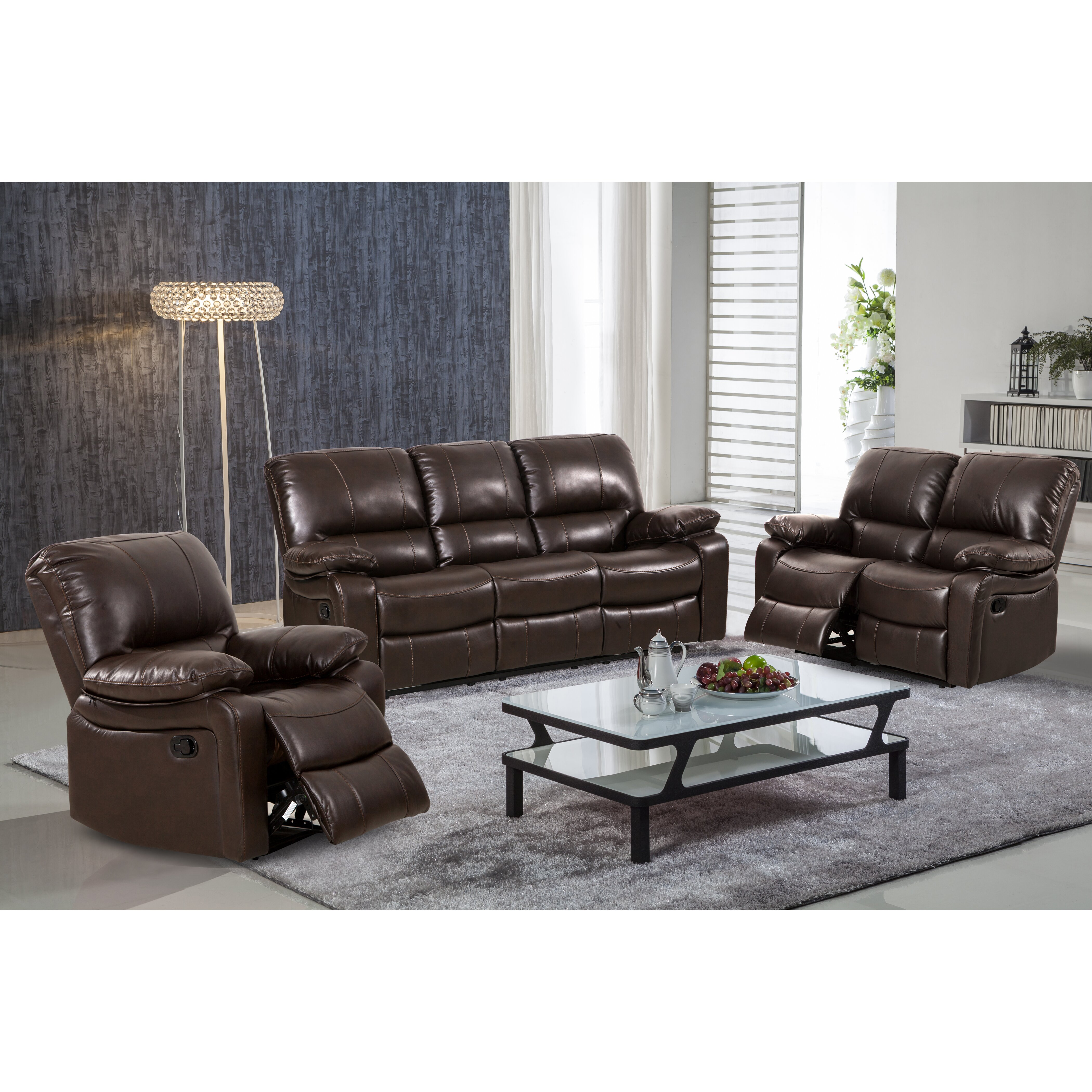 Reclining Living Room Set Living In Style Layla 3 Piece Leather Gel Reclining Living Room