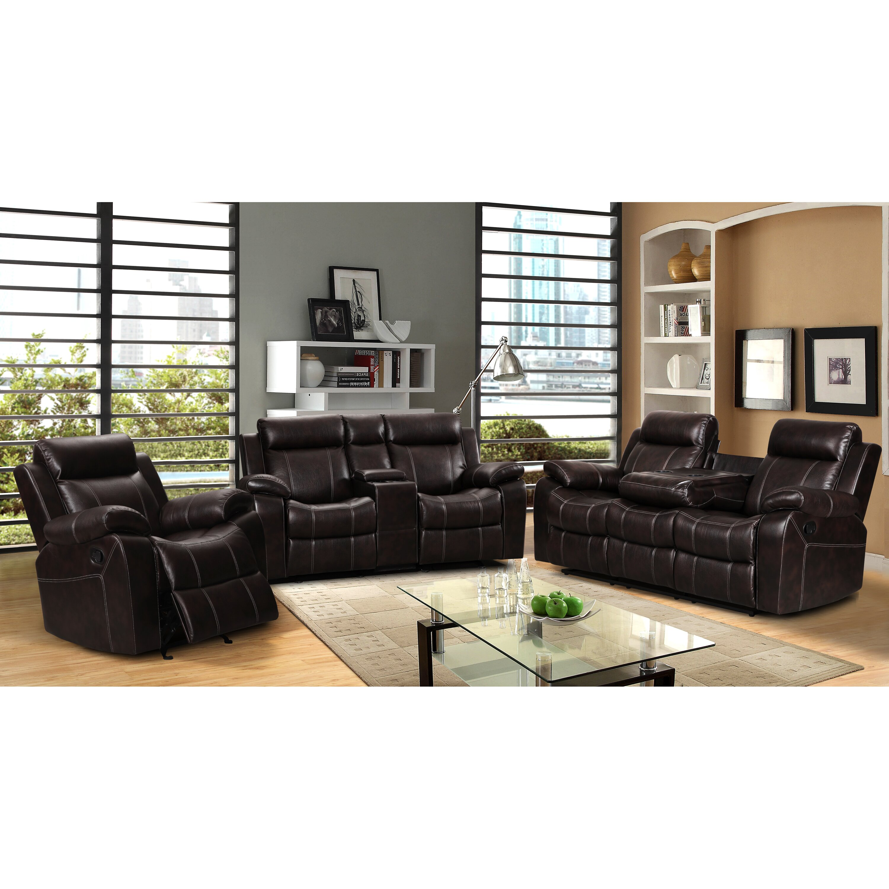 Three Piece Living Room Set Living In Style Gabrielle 3 Piece Living Room Reclining Sofa Set