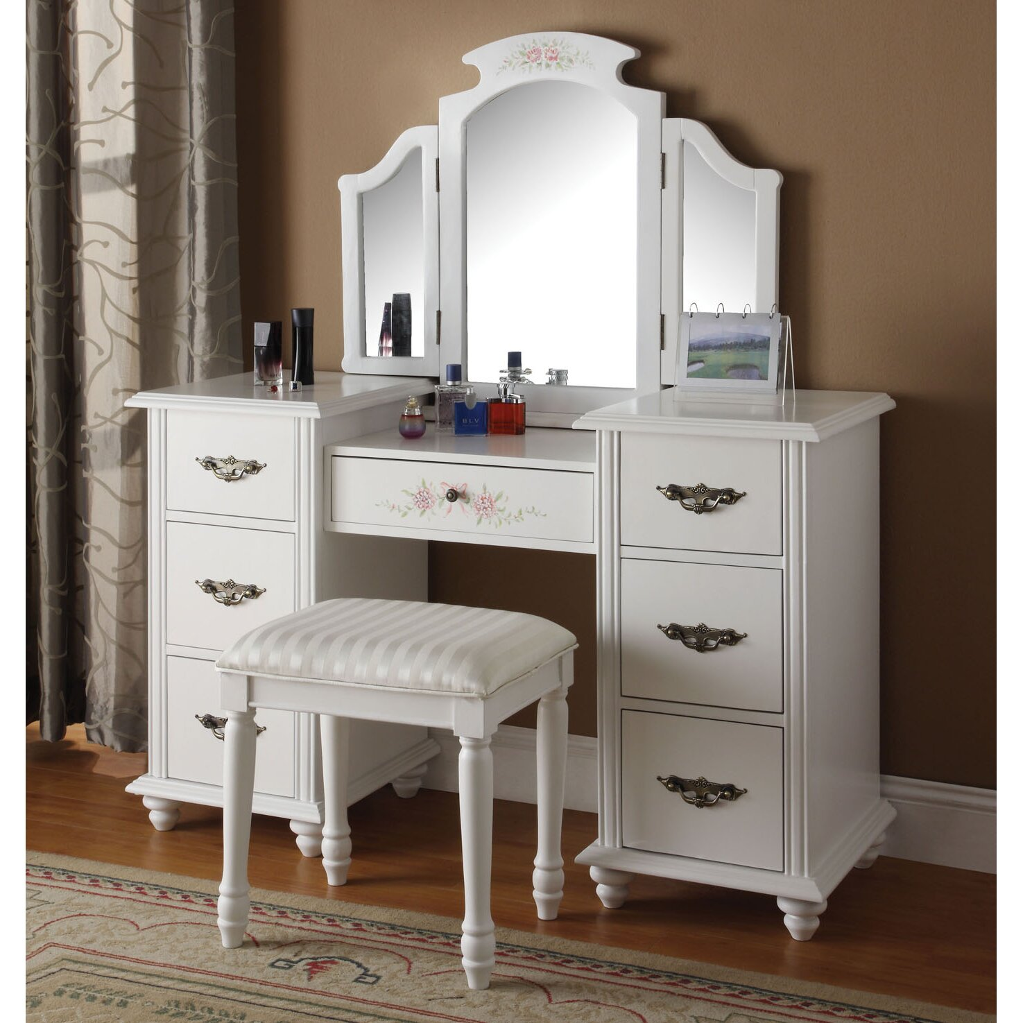 Infini Furnishings Makeup Vanity Set with Mirror. Infini Furnishings Makeup Vanity Set with Mirror  amp  Reviews   Wayfair