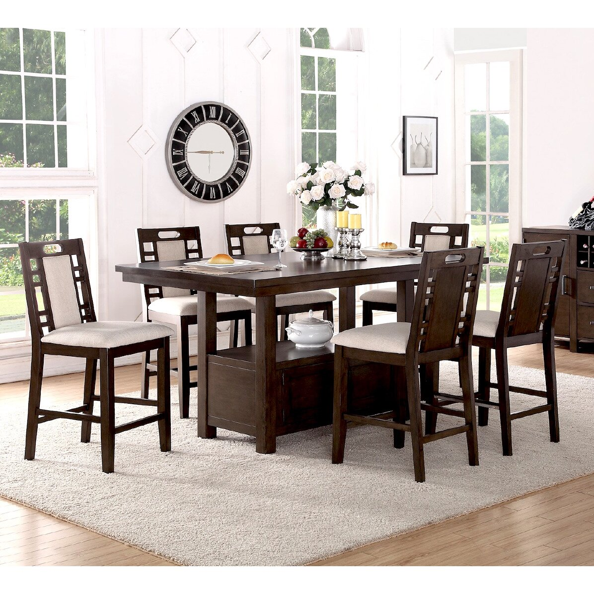 7 Piece Counter Height Dining Room Sets: Infini Furnishings Amable 7 Piece Counter Height Dining