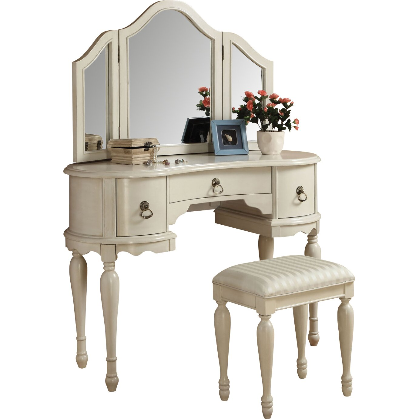 Infini Furnishings Makeup Vanity Set with Mirror & Reviews ...