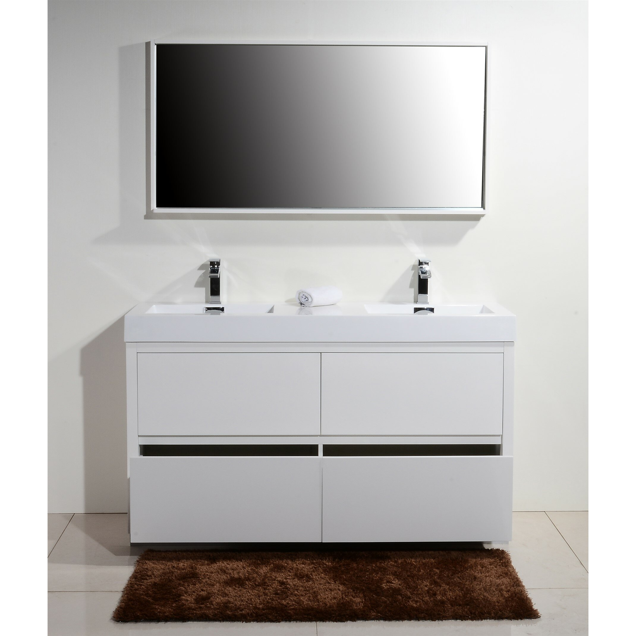 Kube Bath Bliss 60 amp quot  Double Free Standing Modern Bathroom Vanity Set. Kube Bath Bliss 60 quot  Double Free Standing Modern Bathroom Vanity