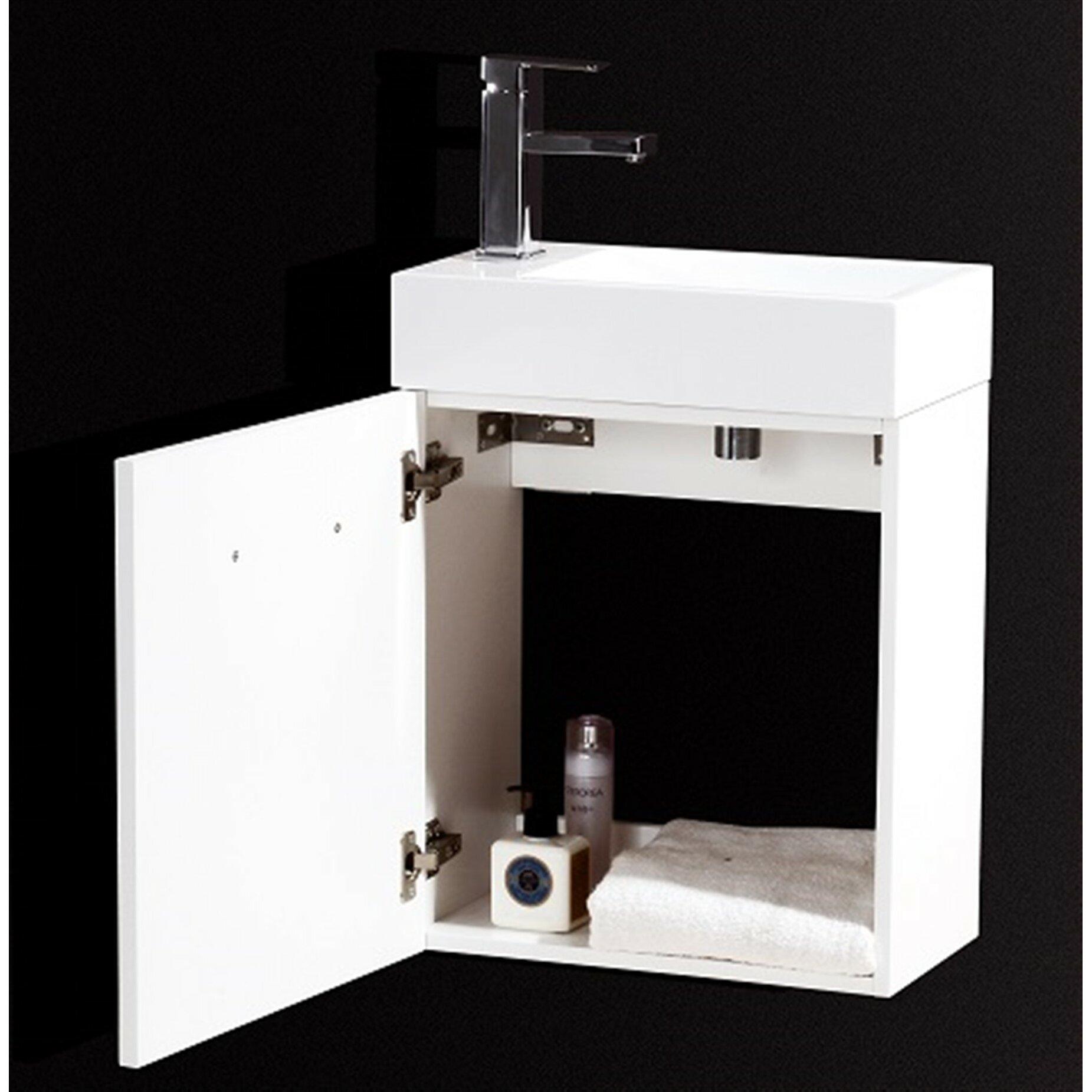 Kube Bath Bliss 18 amp quot  Single Wall Mount Modern Bathroom Vanity Set. Kube Bath Bliss 18 quot  Single Wall Mount Modern Bathroom Vanity Set