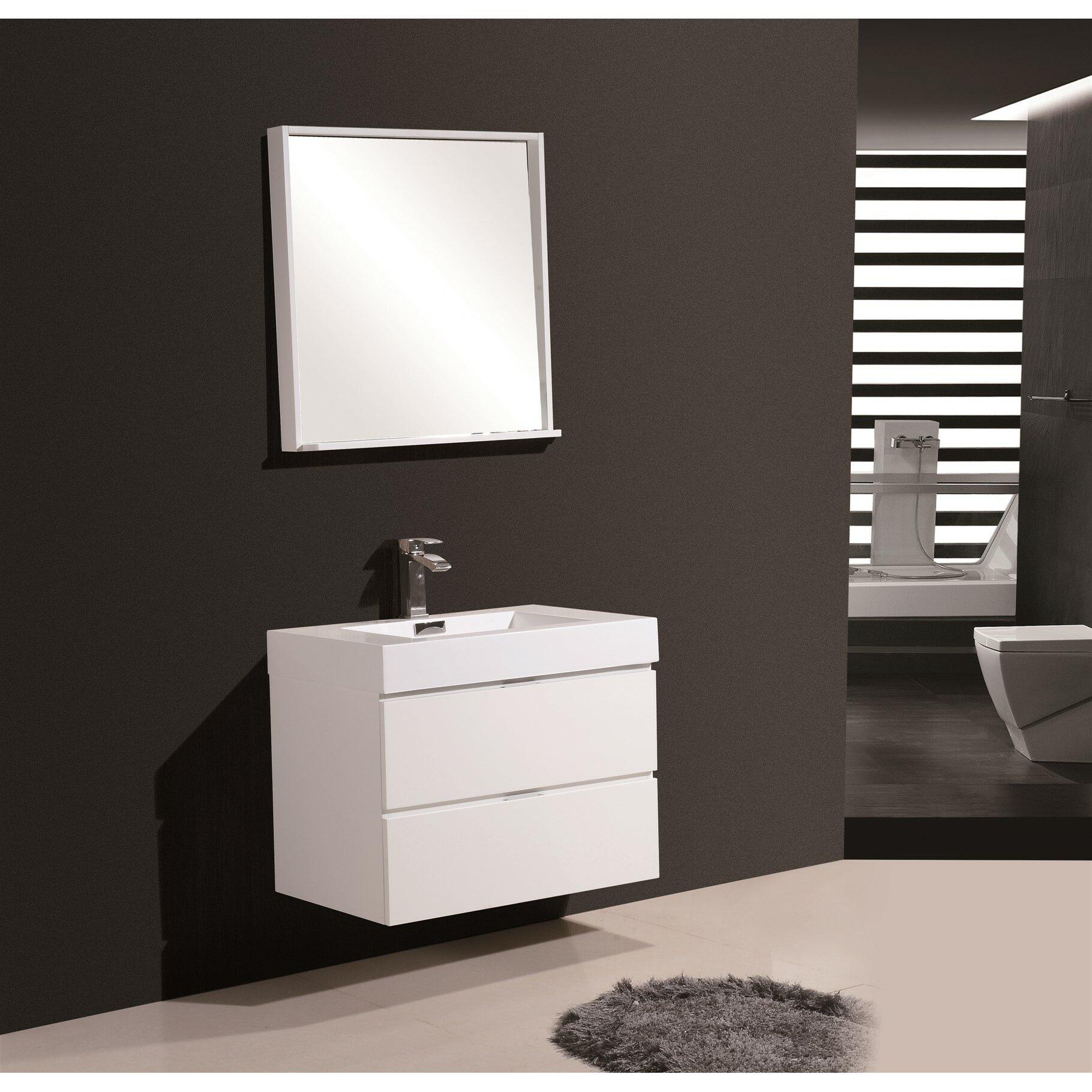 Kube bath bliss 30 single wall mount modern bathroom for Wayfair bathroom wallpaper