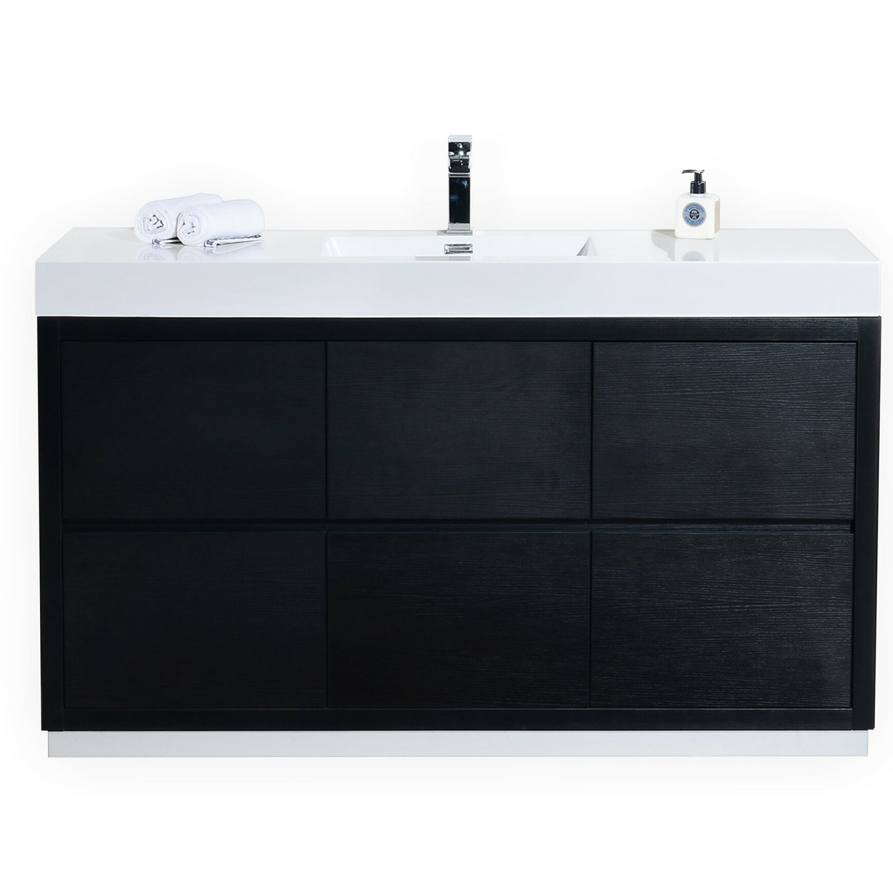 Kube Bath Bliss 60 amp quot  Single Free Standing Modern Bathroom Vanity Set. Kube Bath Bliss 60 quot  Single Free Standing Modern Bathroom Vanity
