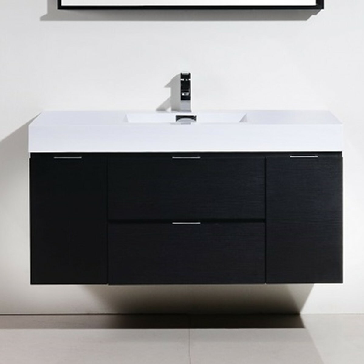 "kube bath bliss 48"" single wall mount modern bathroom vanity set"