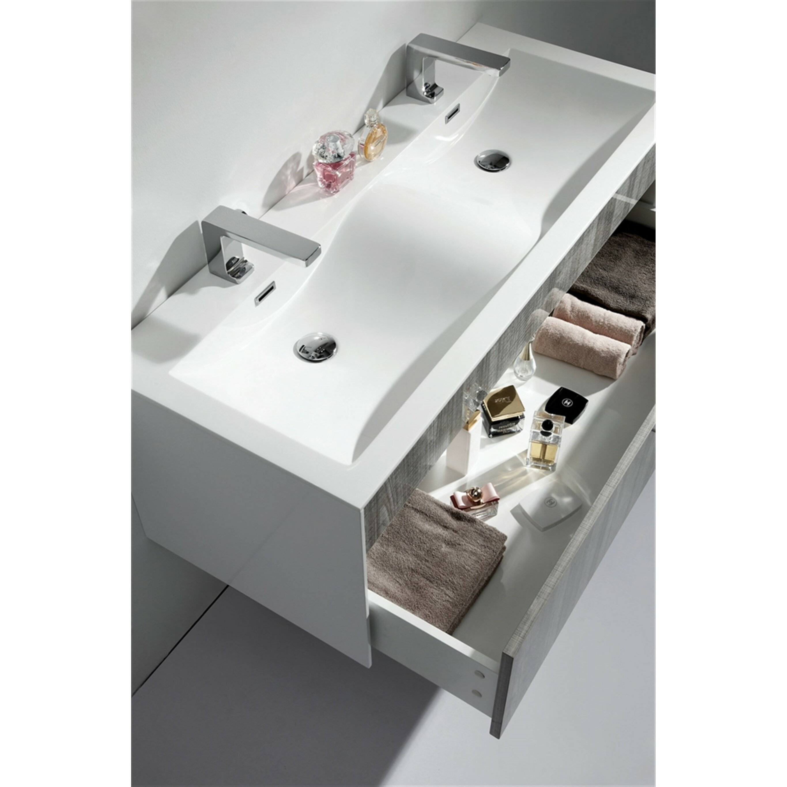 Kube bath fitto 48 double sink modern bathroom vanity set - Contemporary double sink bathroom vanity ...