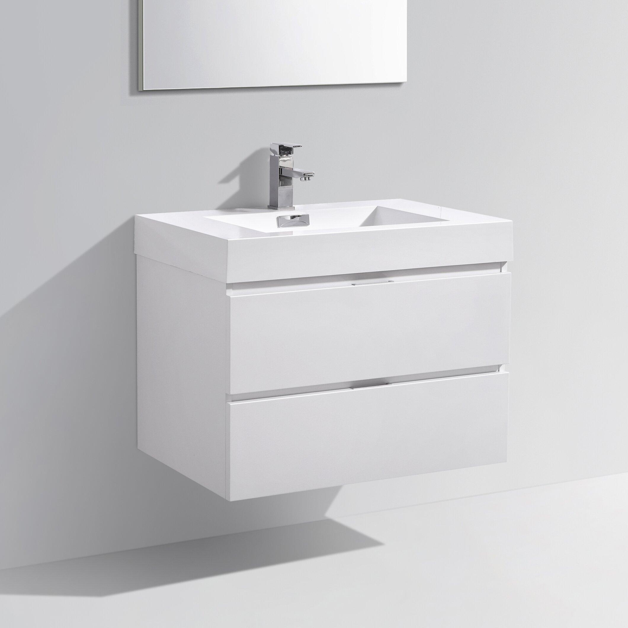 "Kube Bath Bliss 30"" Single Wall Mount Modern Bathroom Vanity Set & R"