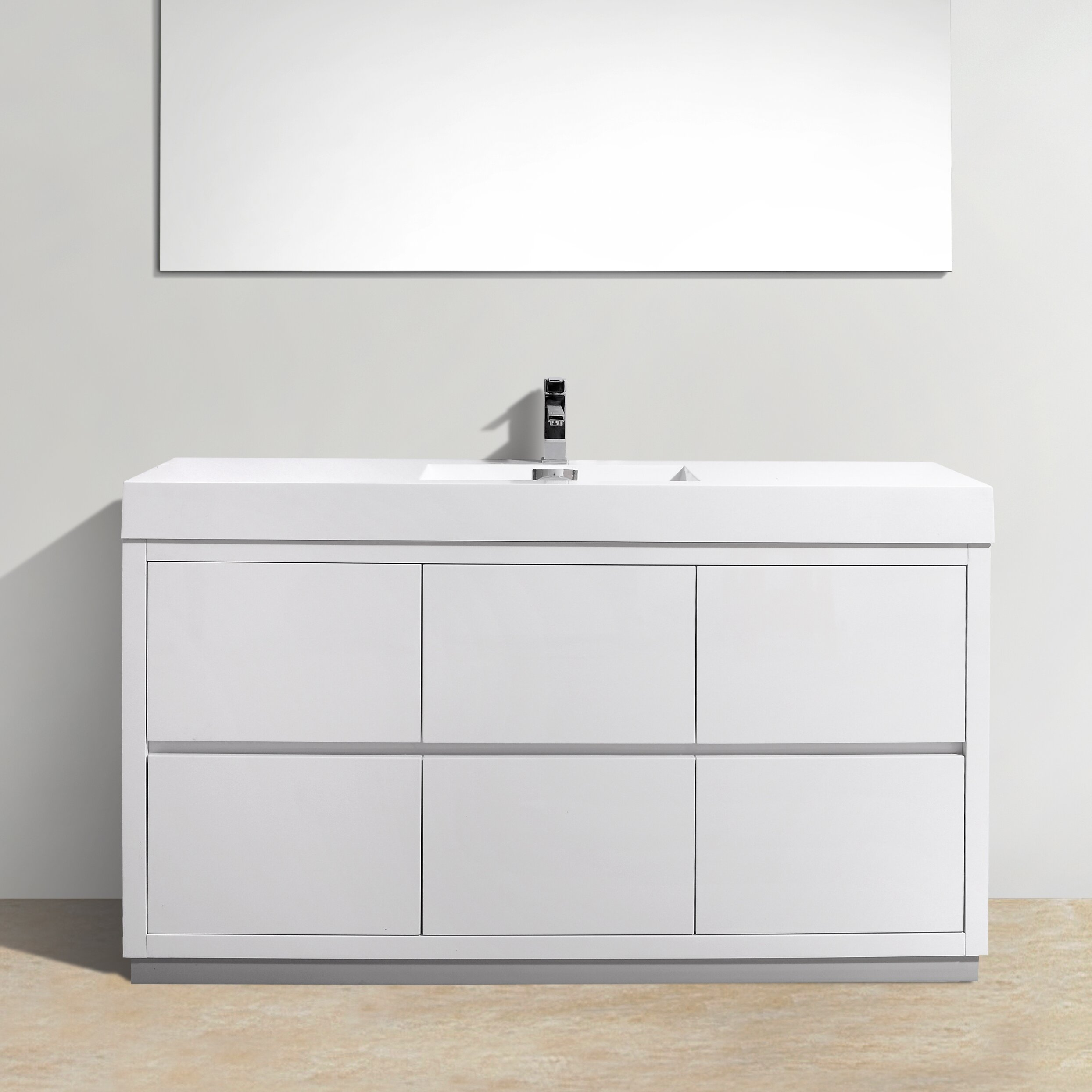 Kube Bath Bliss 60 amp quot  Single Free Standing Modern Bathroom Vanity Set. Bliss 60 quot  Single Free Standing Modern Bathroom Vanity Set