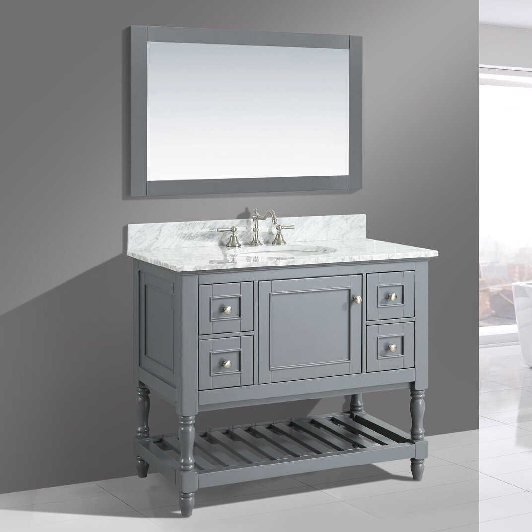 "Contemporary Urban Bath Vanity Light: Urban Furnishings Silvia 42"" Bathroom Sink Vanity Set With Mirror & Reviews"