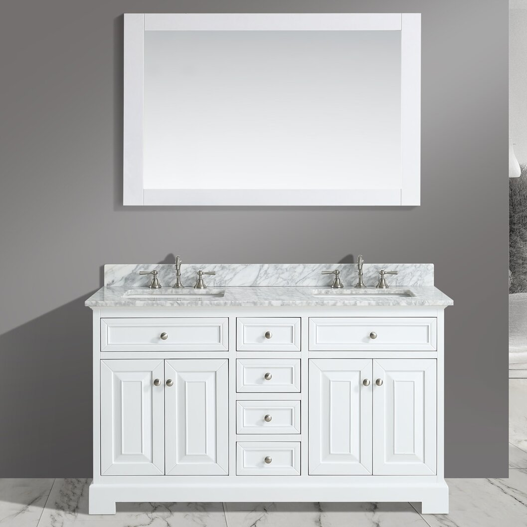 Bathroom sink and mirror - Urban Furnishings Rochelle 60 Quot Double Bathroom Sink Vanity Set With Mirror
