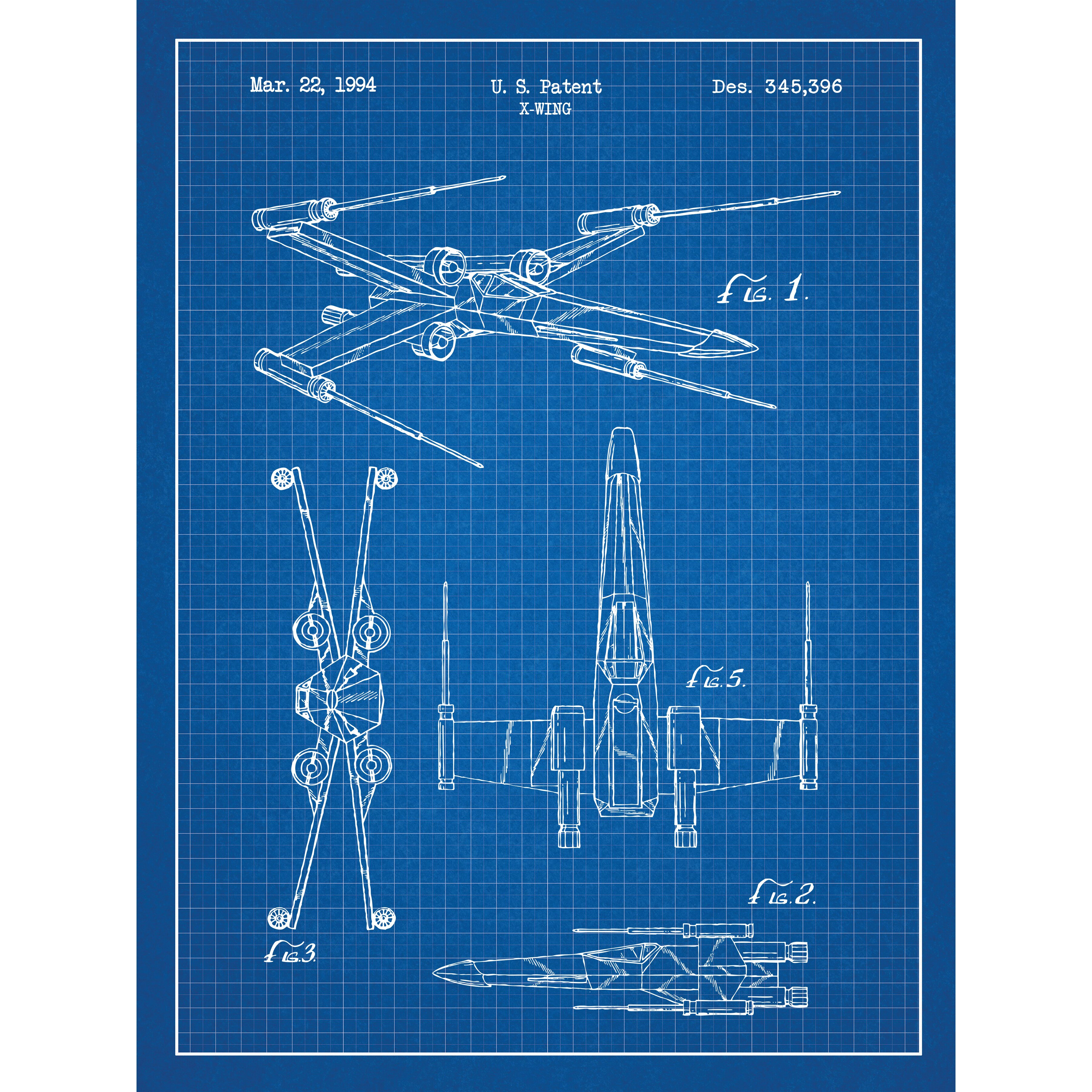 Star wars x wing 2 blueprint graphic art by inked and screened