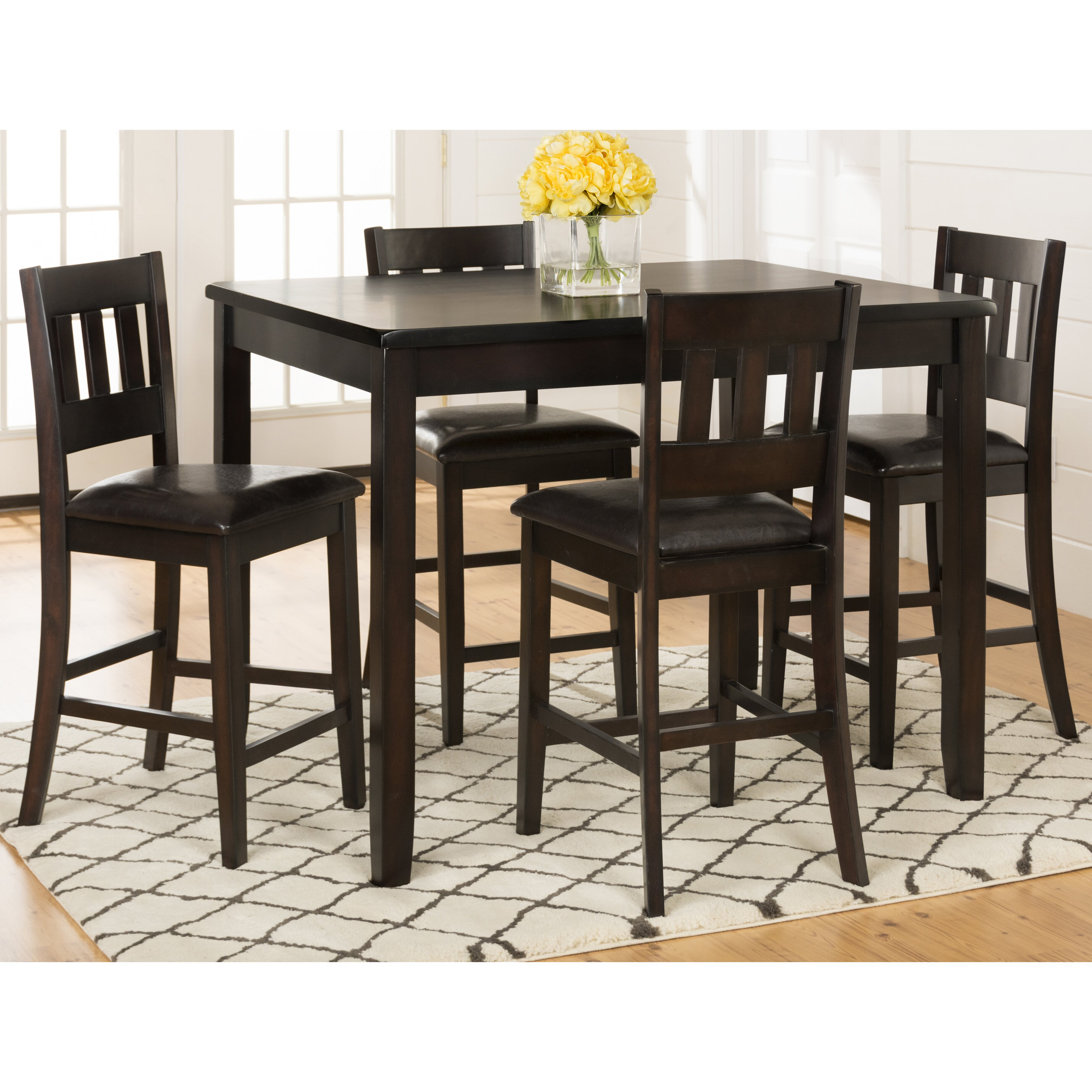 Kitchen Pub Table And Chairs Latitude Run Barney 5 Piece Counter Height Pub Table Set Reviews