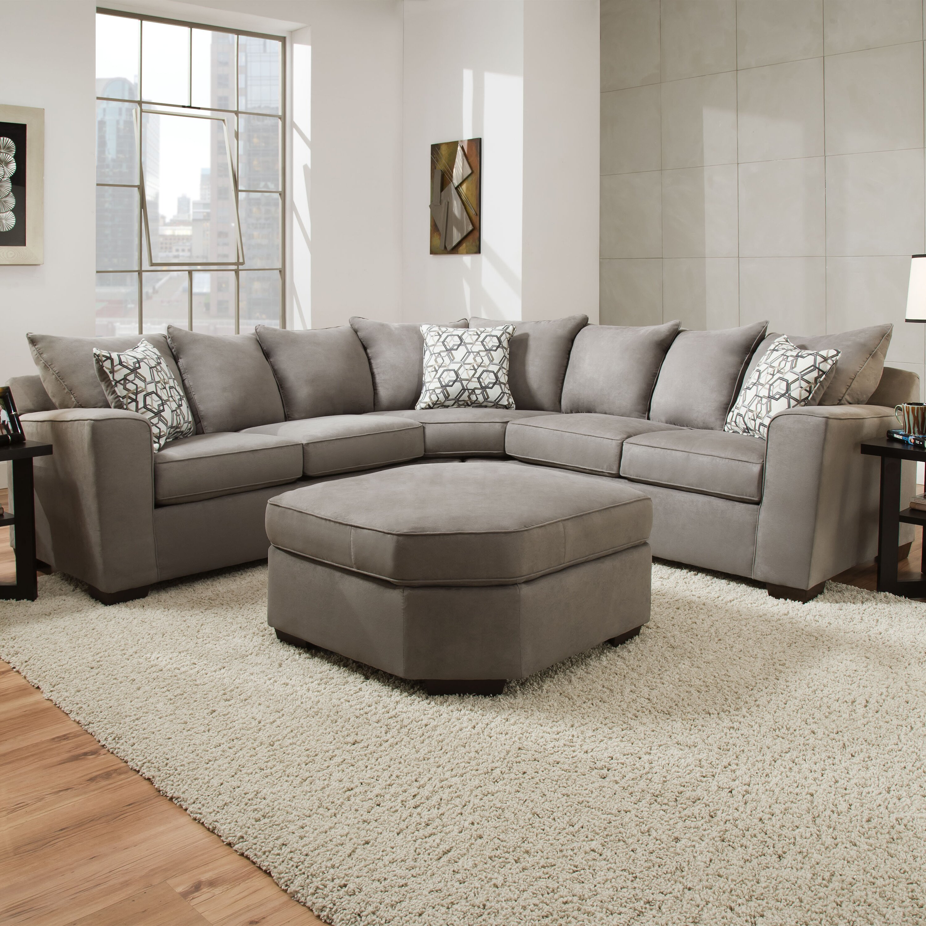 Latitude run daisy sectional by simmons upholstery for Garrison 2 pc leather sectional sofa reviews