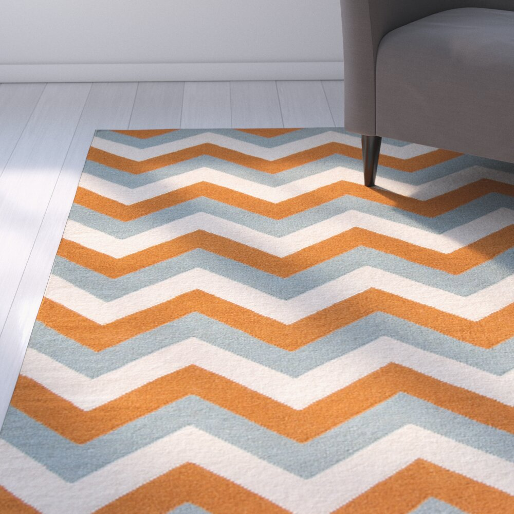 Latitude Run Lily Blue/Orange Area Rug