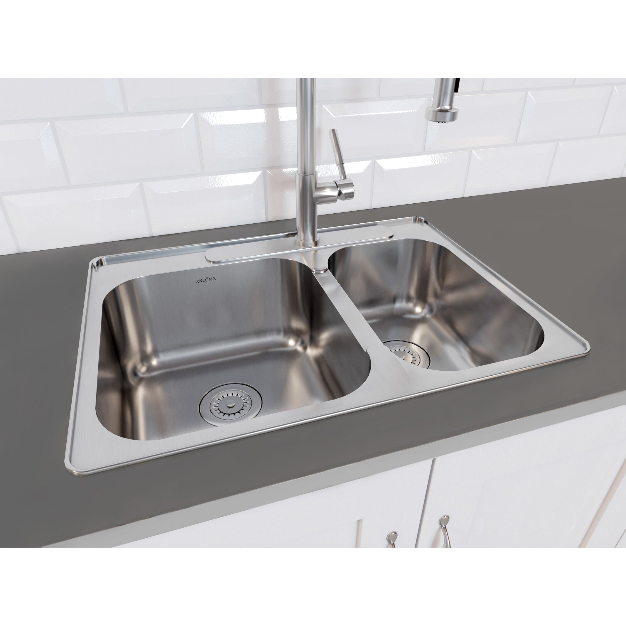 """ancona capri drop-in 27.1"""" x 20.4"""" double bowl kitchen sink with"""