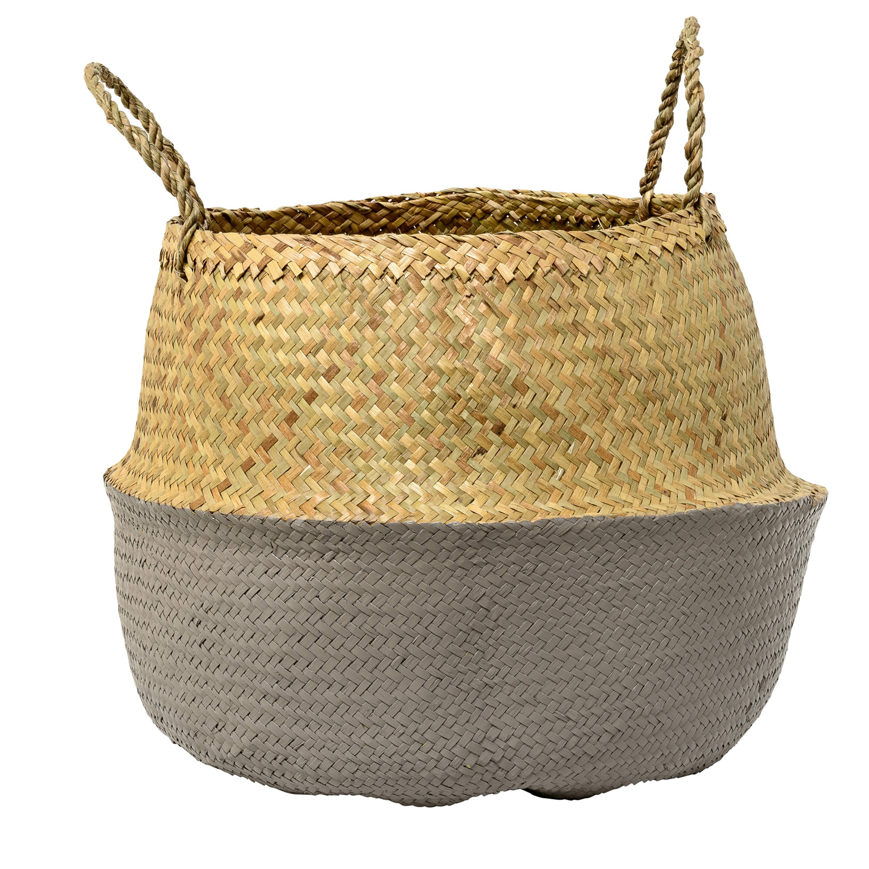 White wicker baskets with handle - Seagrass Basket With Handles