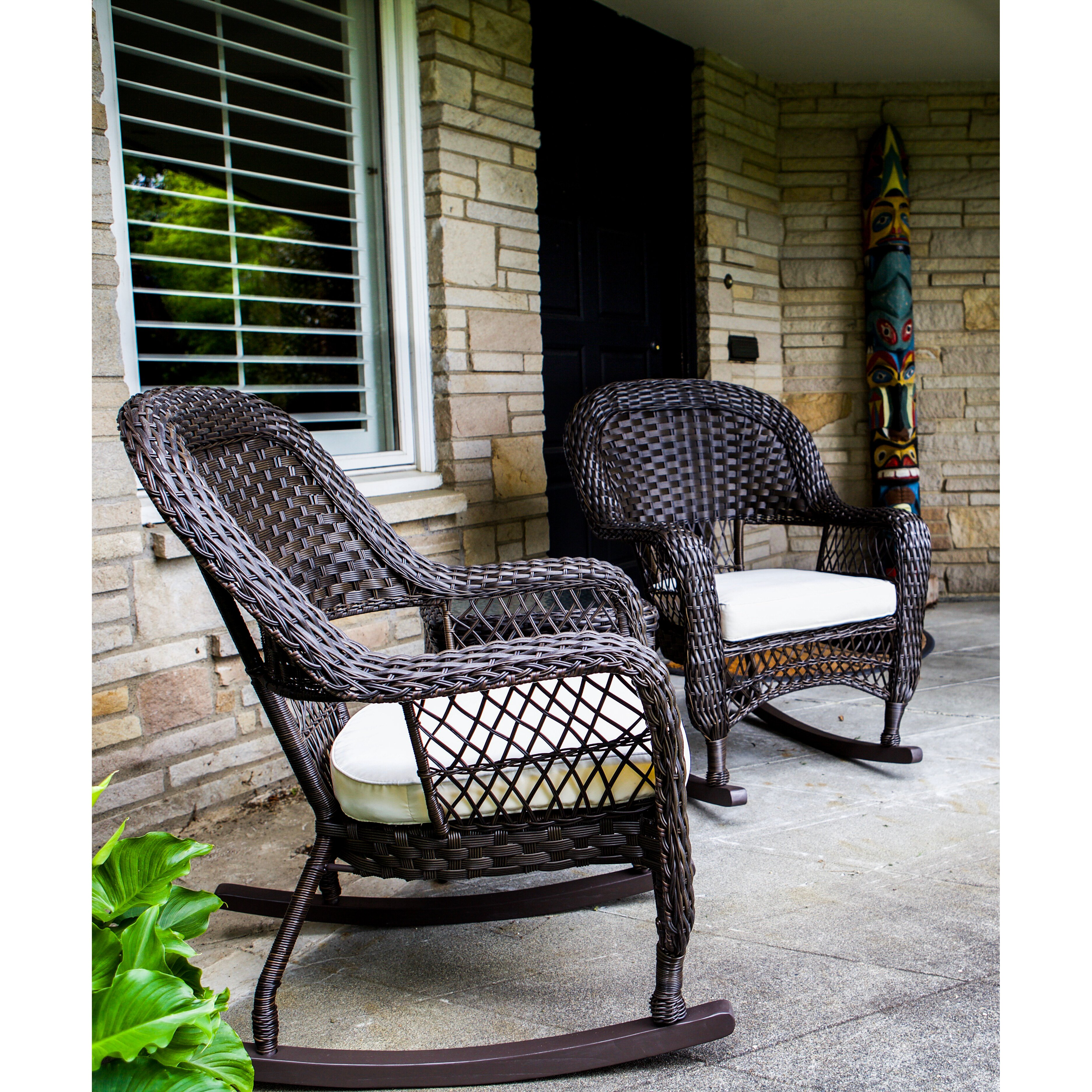 Sol Siesta Veranda 3 Piece Rocking Chair Set With Cushions