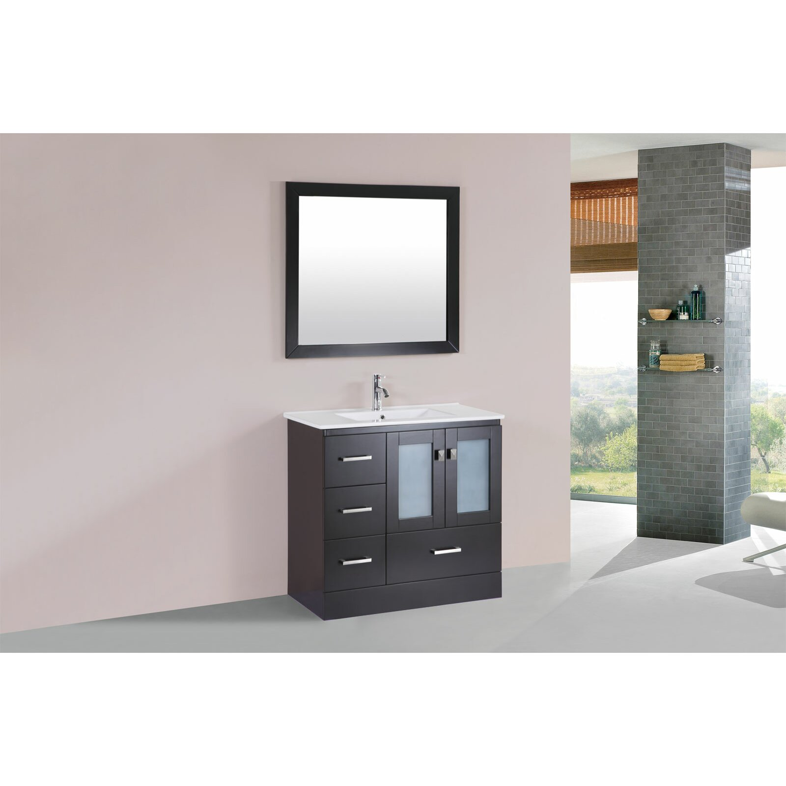 36 single modern bathroom left side cabinet vanity set