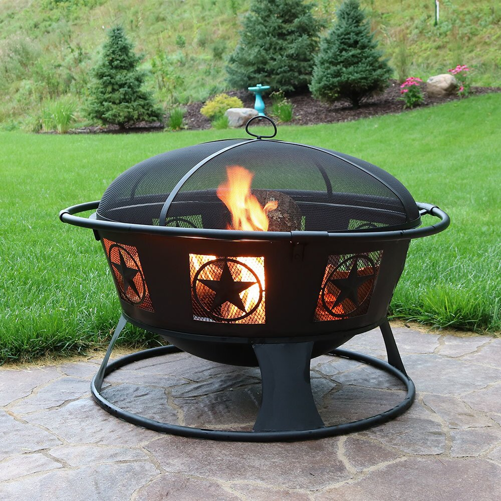 Sunnydaze Decor Endless Nights Steel Wood Fire Pit With