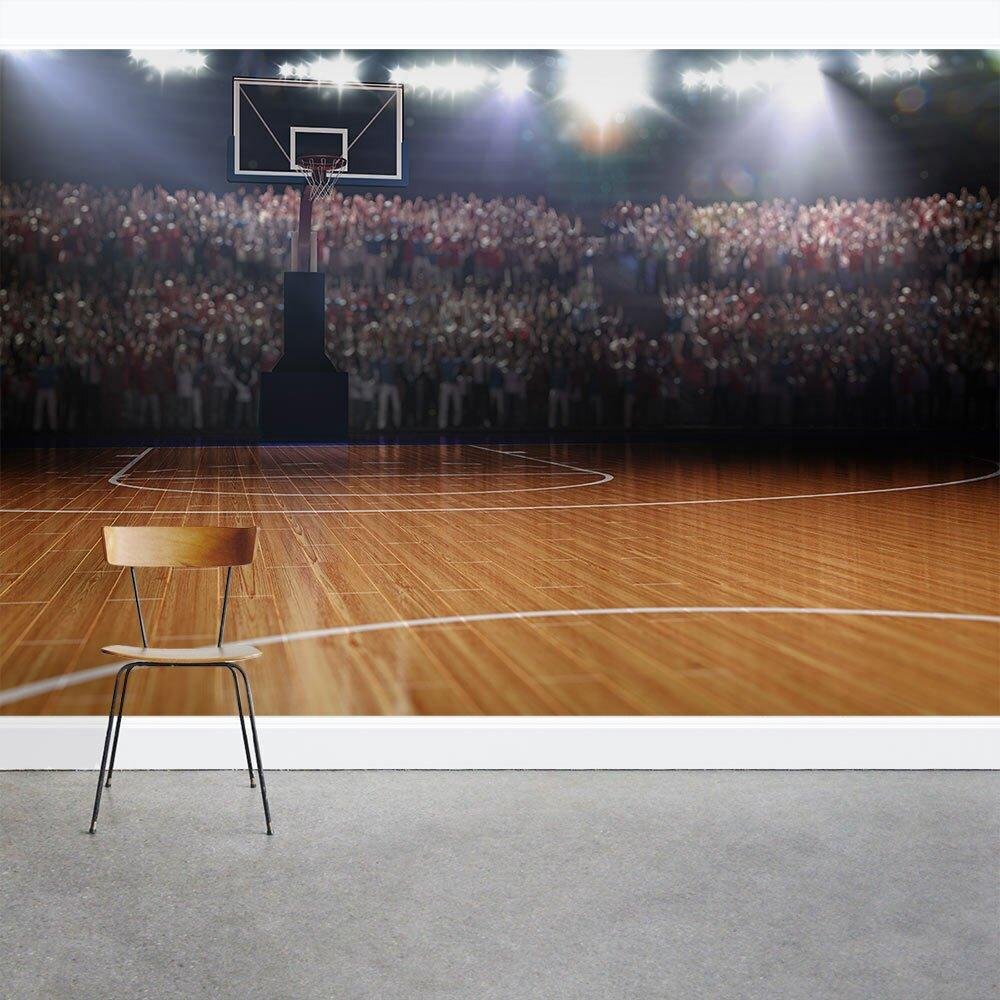 Wallums wall decor basketball half court 8 39 x 144 3 piece for Basketball court wall mural