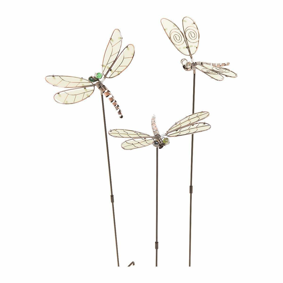 Pureday 3 Piece Dragonfly Garden Stake