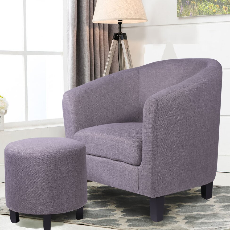 Ebern Designs Margaux Barrel Chair And Ottoman Wayfair Ca