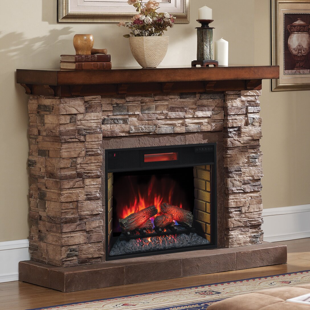 Montgomery 26in electric fireplace and tv stand cherry 26mm2490 c233 - Classic Flame Stacked Stone Infrared Electric Fireplace Wayfair