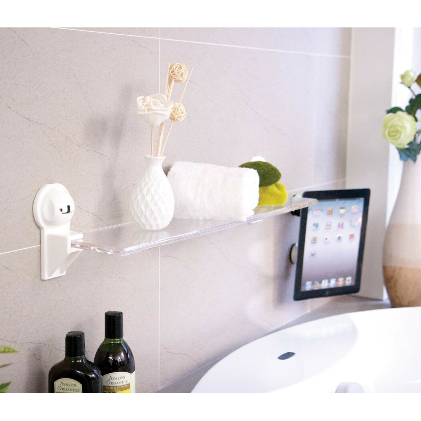 Bathroom Shelf Feca Rectangular Waterproof With Powerful Suction Cup 2575 W