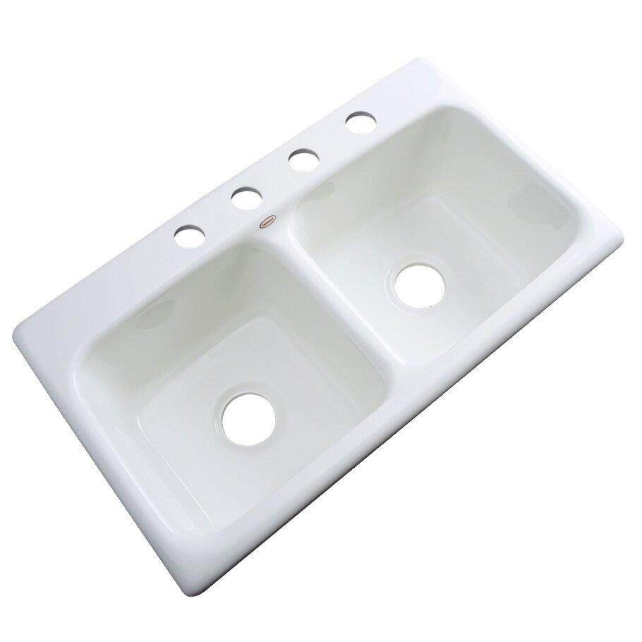 White Sinks For Kitchen Solidcast Portland 33 X 19 Kitchen Sink Reviews Wayfair