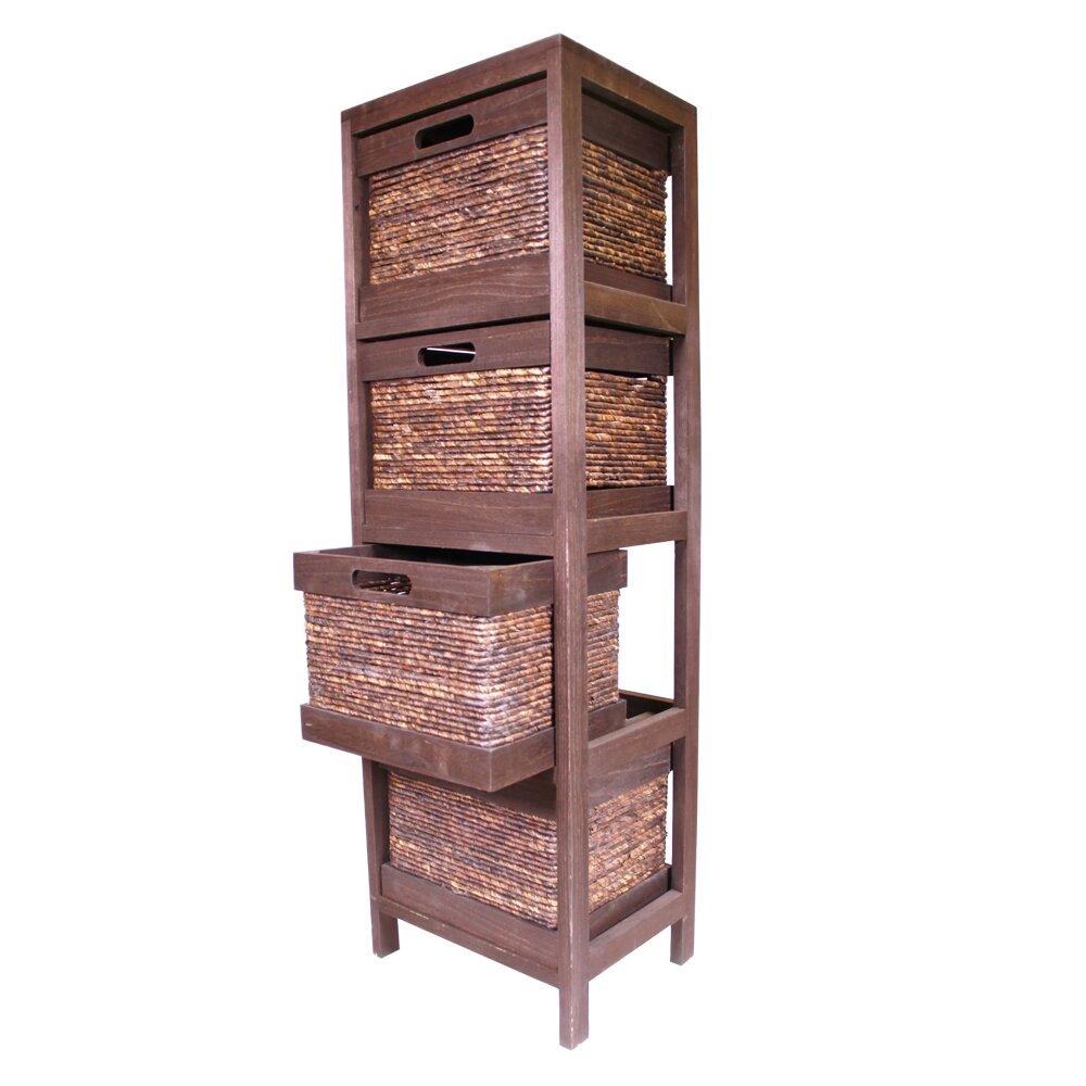 Wicker Basket Cabinet Jia Home Wood Cabinet With 4 Wicker Baskets Reviews Wayfair