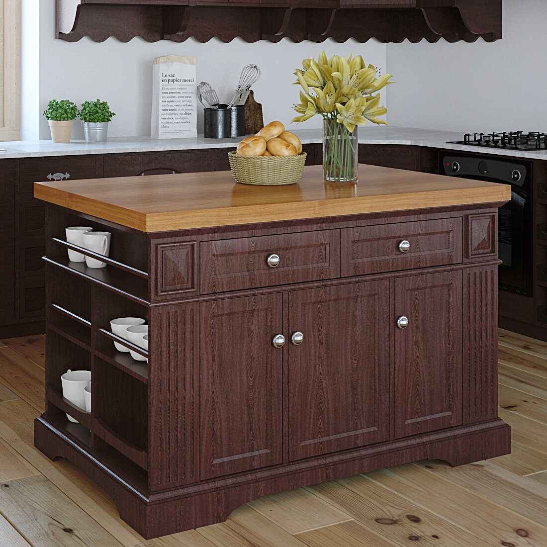 Kitchen Furniture Island 222 Fifth Furniture Greenwich Kitchen Island With Wood Top