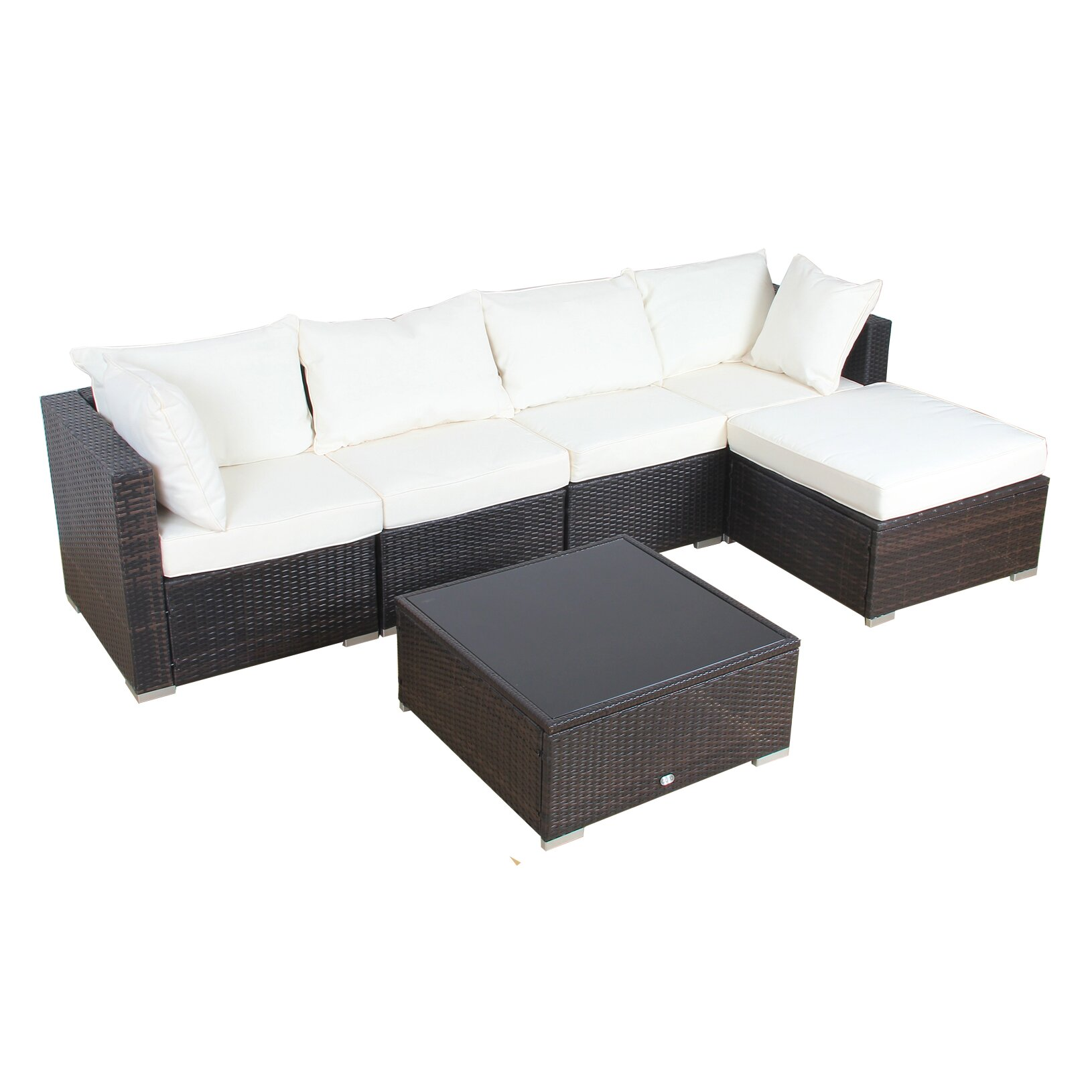 AuroFurniture Patio 6 Piece Sectional Seating Group with