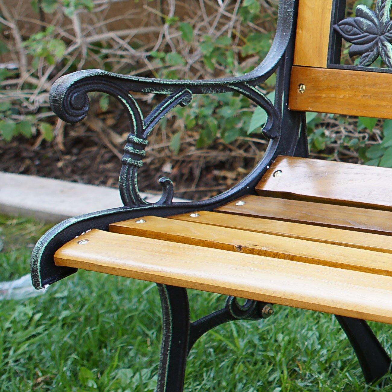 Belleze Outdoor Patio Cast Iron Hardwood Garden Bench Reviews – Outdoor Iron Bench