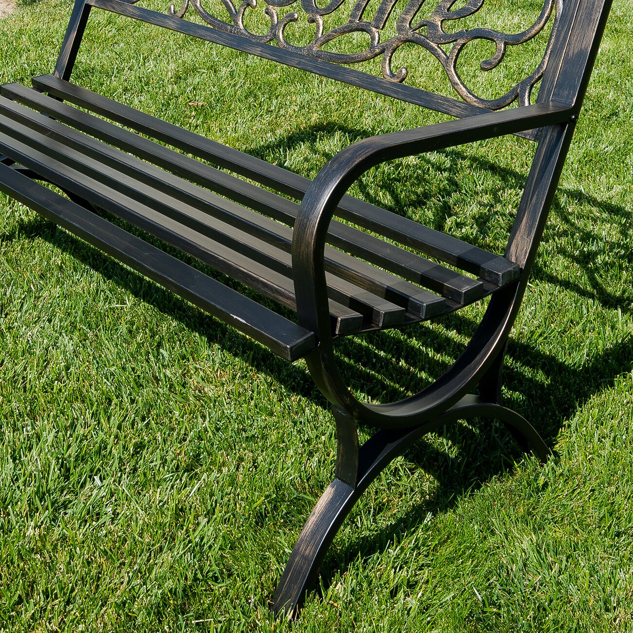 Belleze outdoor metal park bench reviews for Metal benches for outdoors