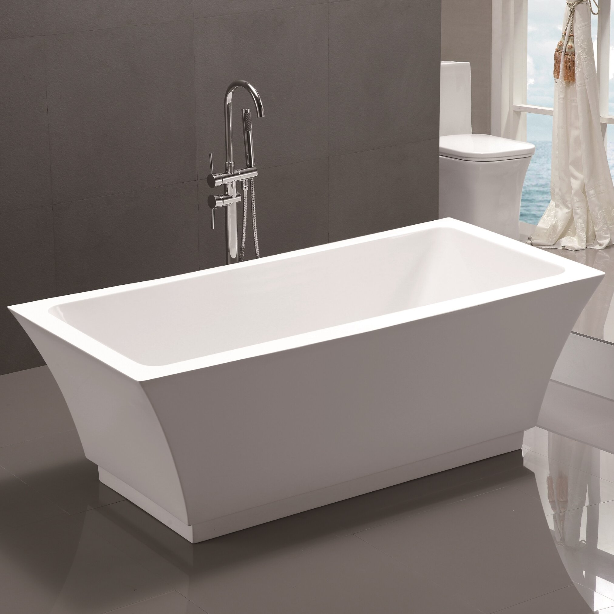 Vanity Art  X  Freestanding Soaking Bathtub  Reviews - Freestanding tub against wall