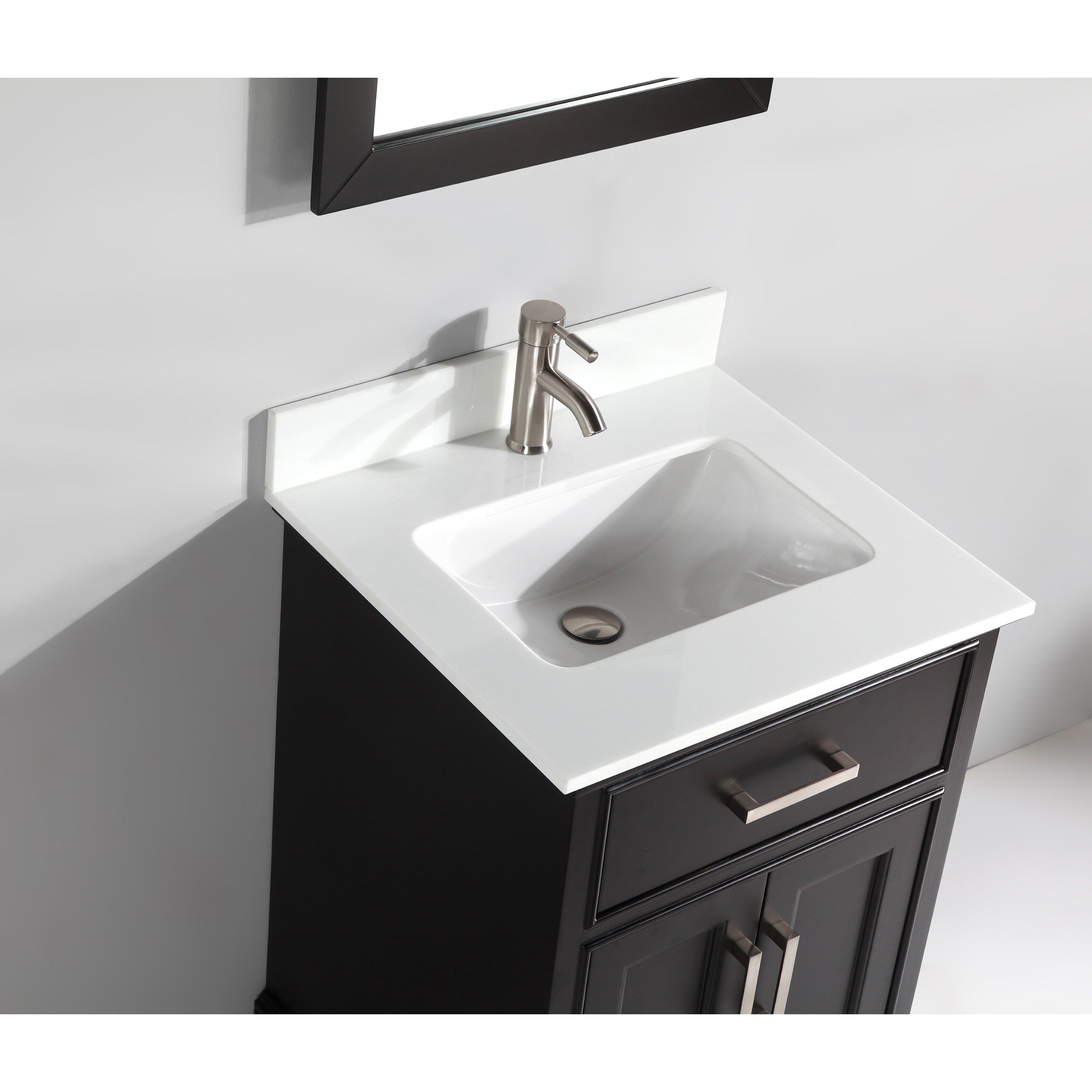 "Mirrored Bathroom Vanity Toronto: Vanity Art 24"" Single Bathroom Vanity Set With Mirror"