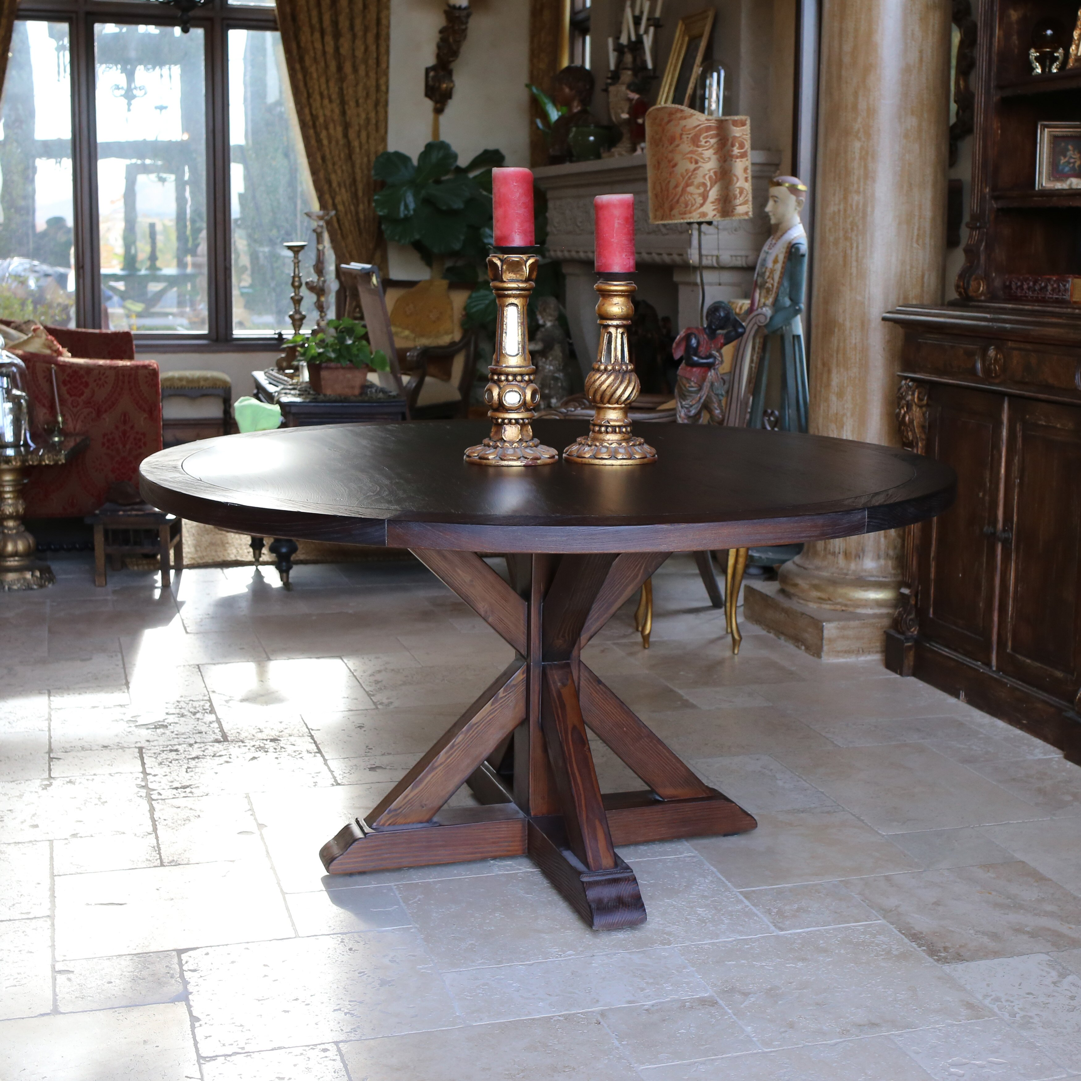 Reclaimed wood round dining table -  Kovet Hospitality Larue Reclaimed Wood Round Dining Table Walnut Stainless Dining Table