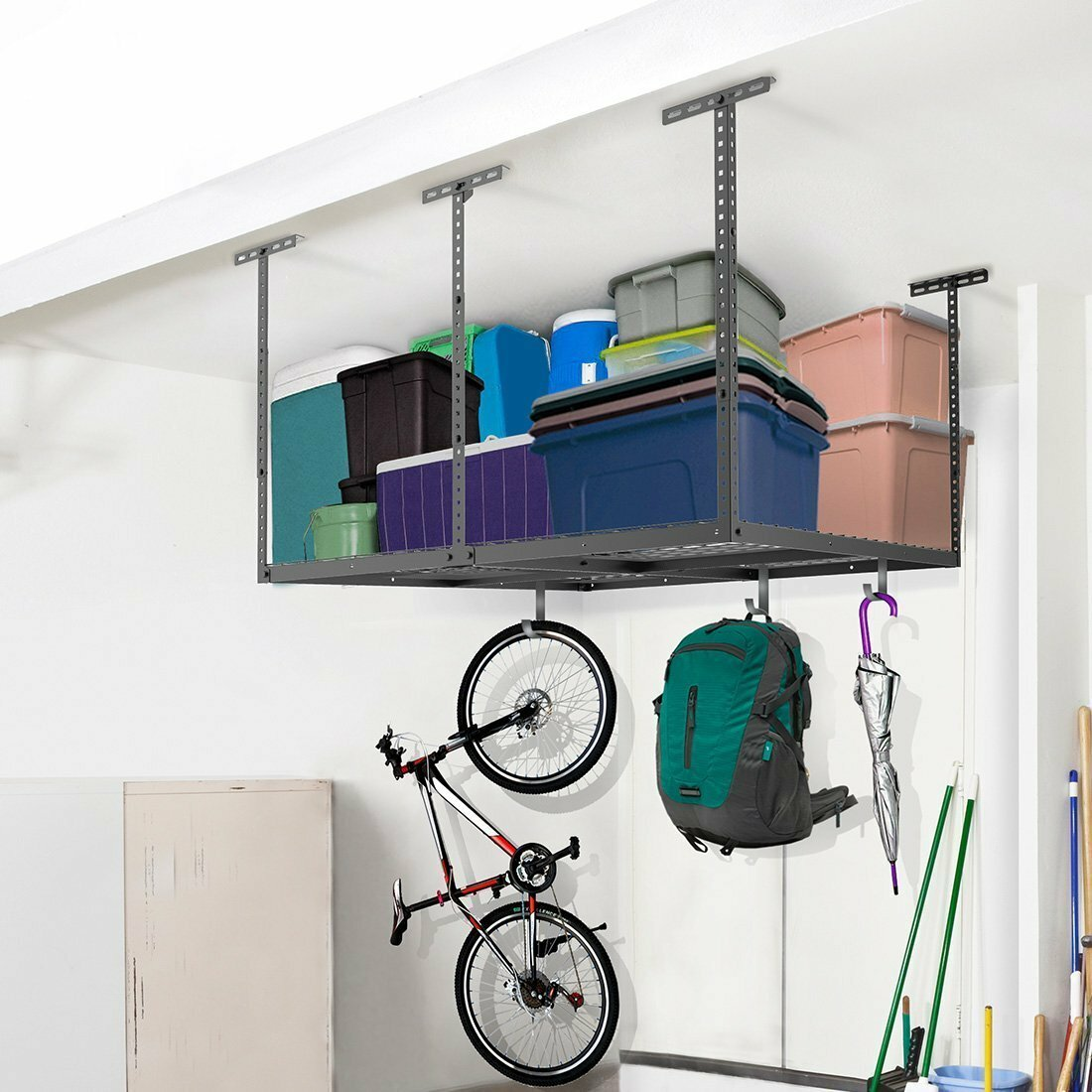 FLEXIMOUNTS Overhead Garage Storage Adjustable Ceiling Storage Rack. FLEXIMOUNTS Overhead Garage Storage Adjustable Ceiling Storage