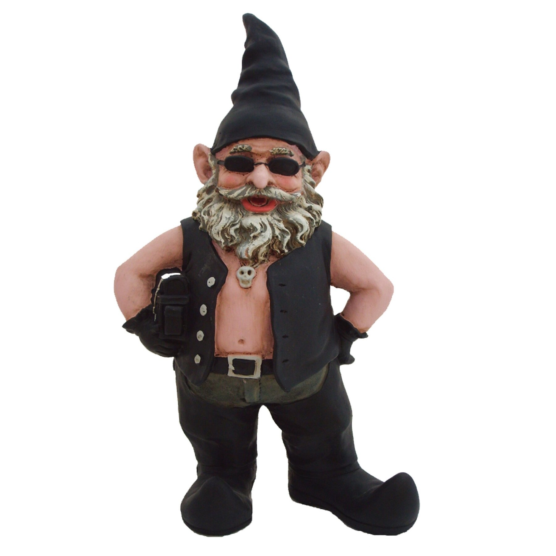 "Gnome In Garden: HomeStyles Nowaday Gnomes Born-to-Ride ""Biker The Gnome"