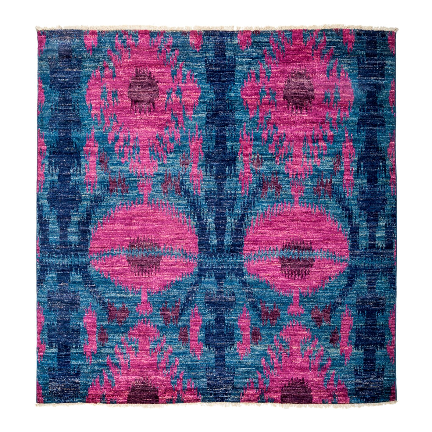 Darya Rugs Ikat Hand-Knotted Blue/Pink Area Rug